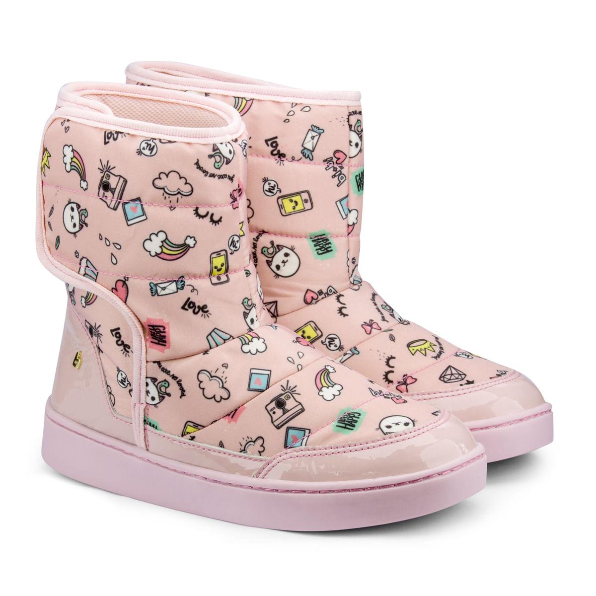 4aaec221e392a6 Bota Infantil Bibi Feminina Rosa Estampada Urban Boots 1087015 ...