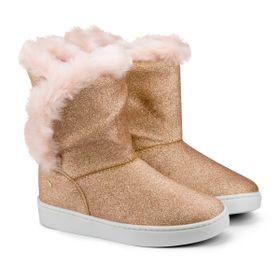 3c8af14598 Bota Infantil Bibi Feminina Com Pelo Glitter Rosa Urban Boots 1087023