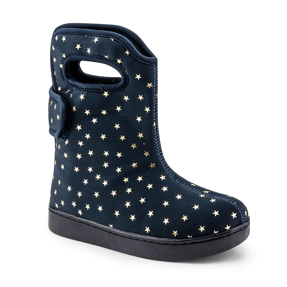 Bota Infantil Bibi Urban Boots Feminino Azul com Estampa de Estrela  - 1049068