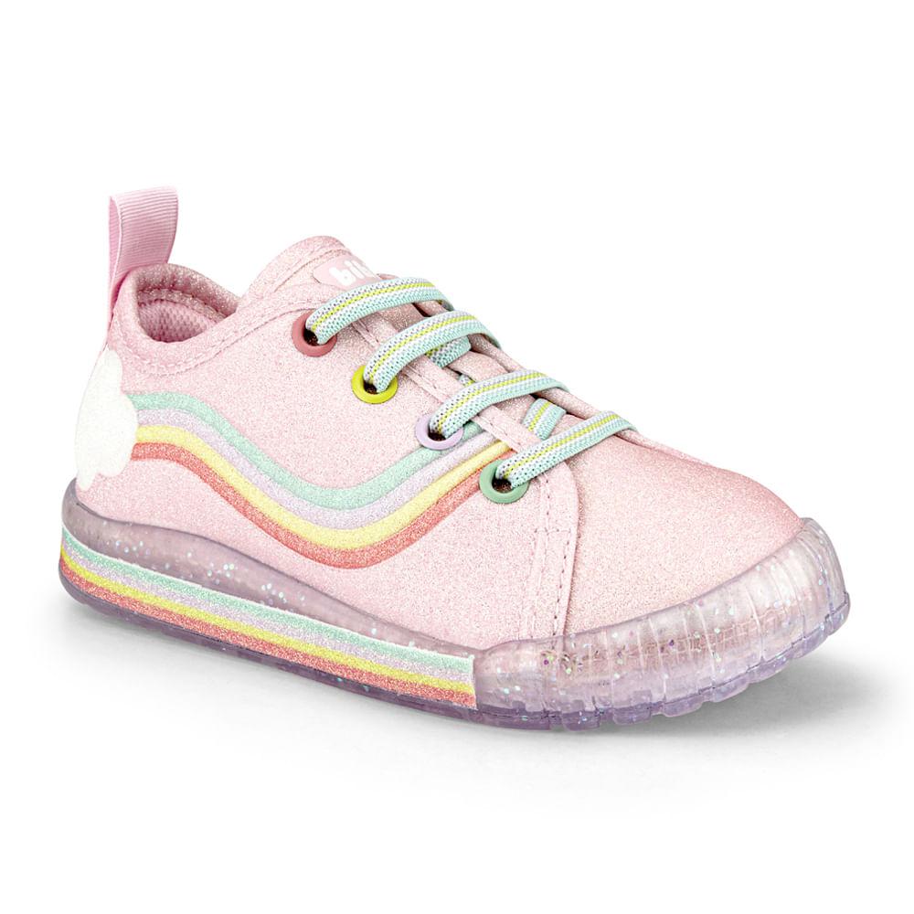 Tênis Infantil Bibi Comfy Feminino Rosa Sugar com Rainbow - 1157067