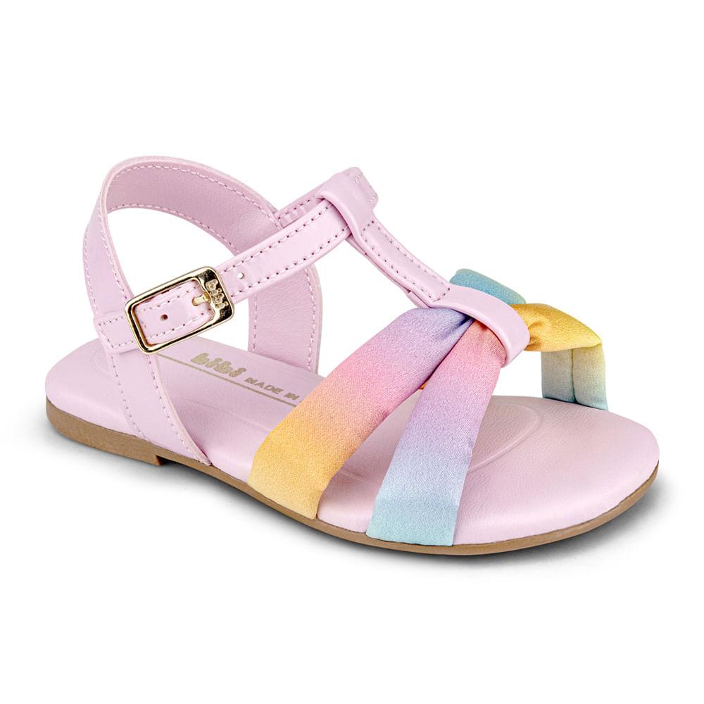 Sandália Infantil Bibi Mini Me Feminina Rosa Sugar com Rainbow - 1102220