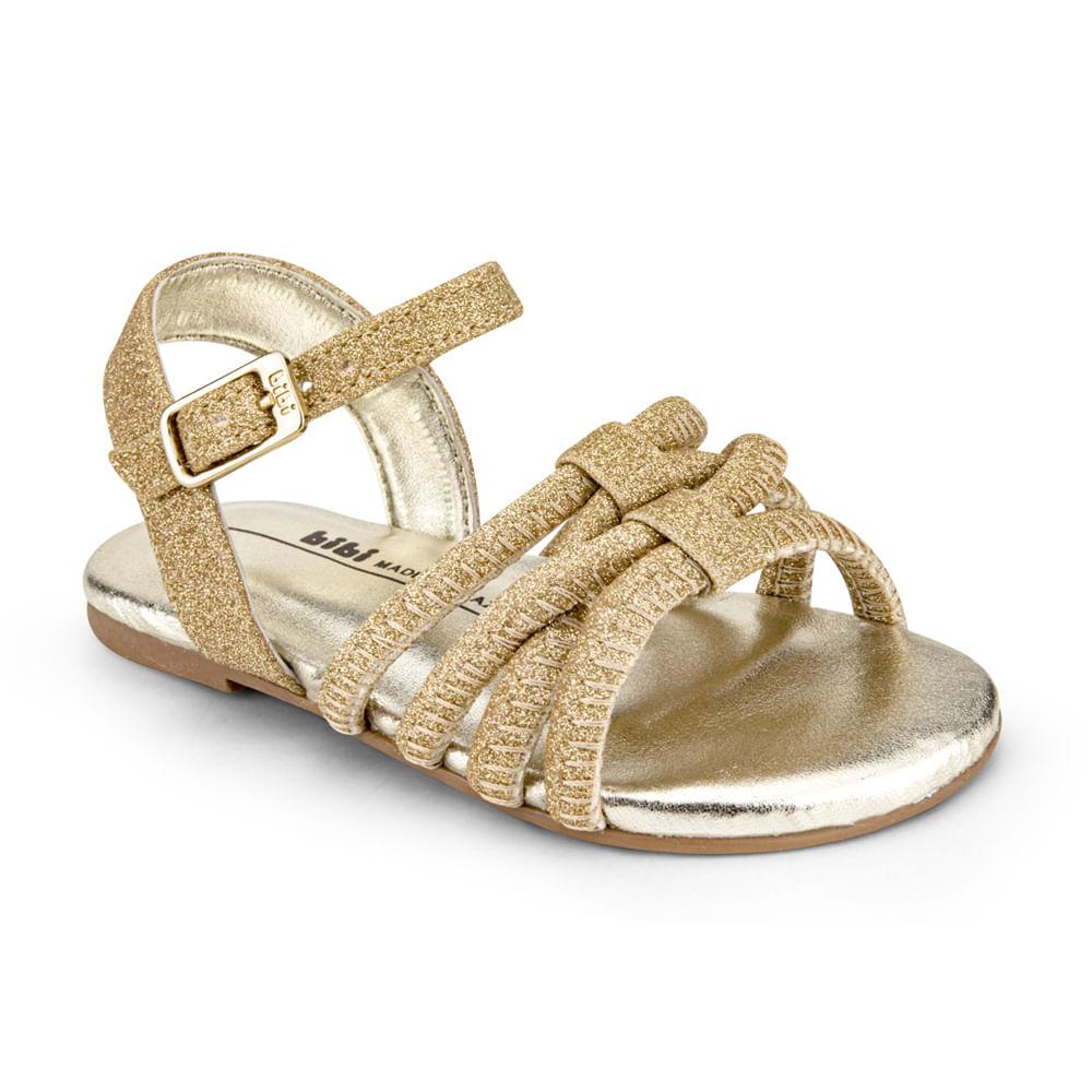 Sandália Infantil Bibi Mini Me Feminina Dourada - 1102229