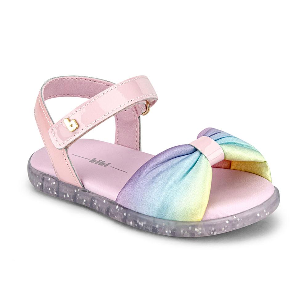 Sandália Infantil Bibi Baby Soft Feminina Rosa Sugar com Rainbow - 1142136