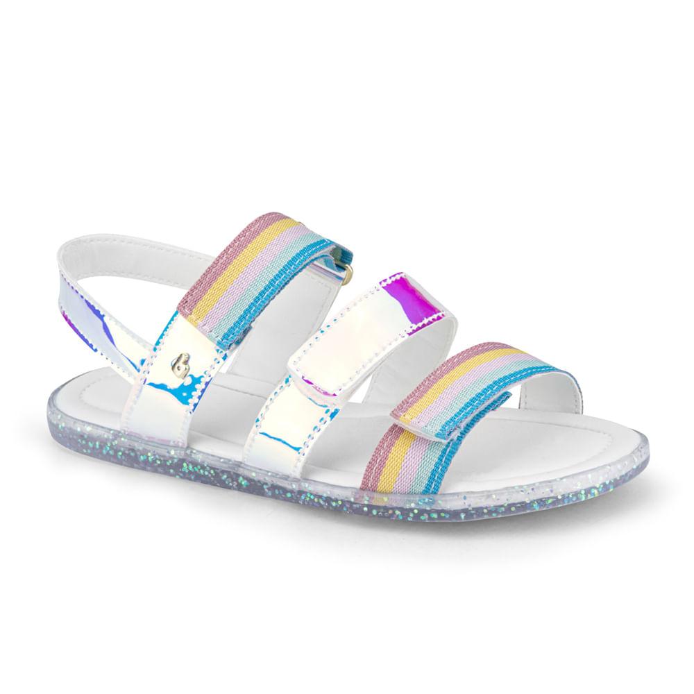 Sandália Infantil Bibi Soft Flat Feminina Branco com Rainbow - 1169017