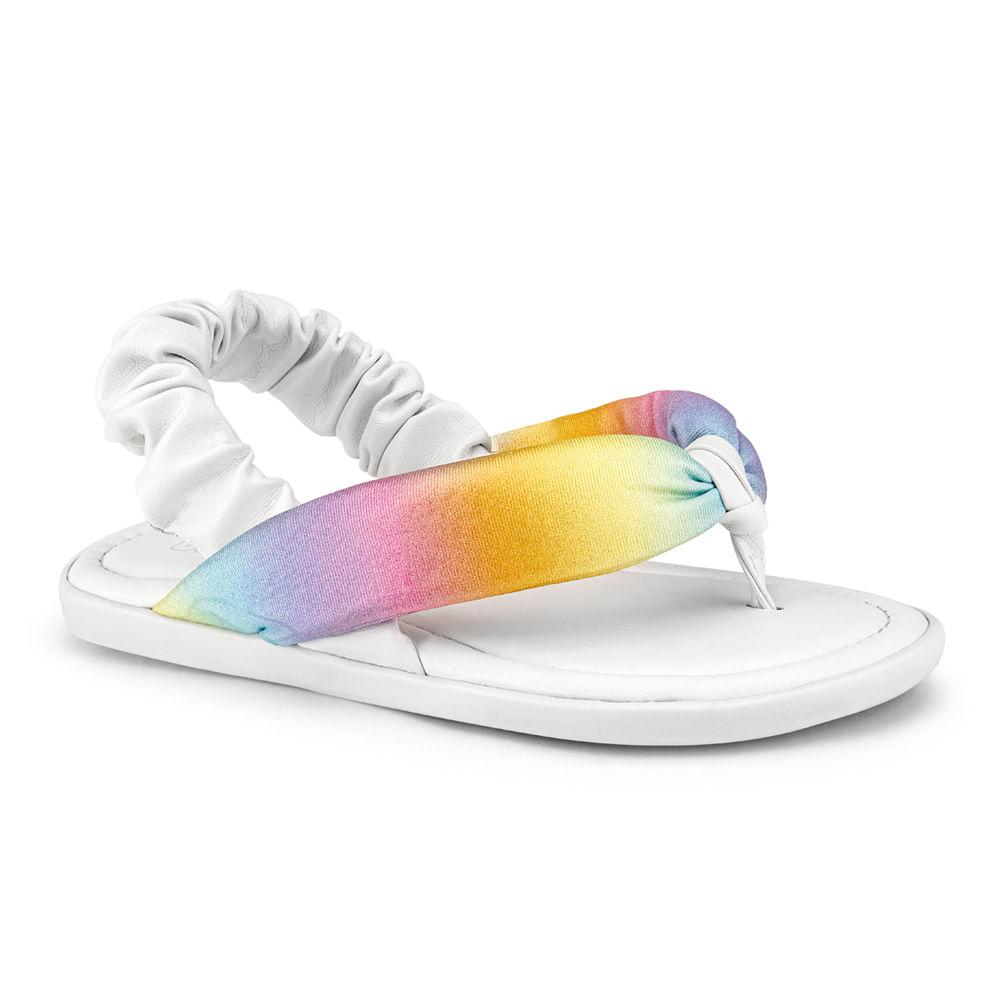 Sandália Infantil Bibi Soft Flat Feminina Branco com Rainbow - 1169014