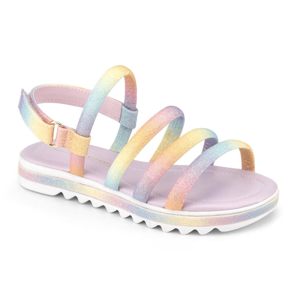 Sandálias Infantil Bibi Flat Form Feminina Rainbow - 1059228