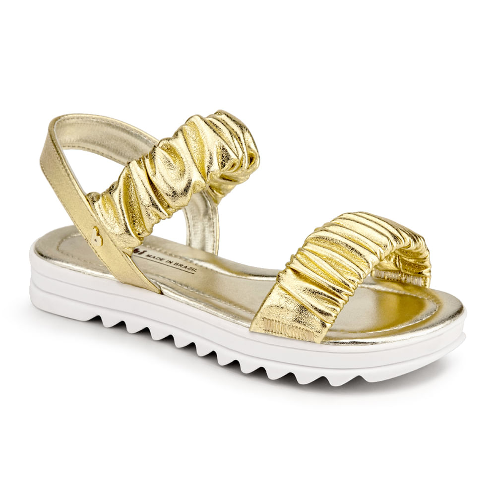 Sandálias Infantil Bibi Flat Form Feminina Dourada - 1059231